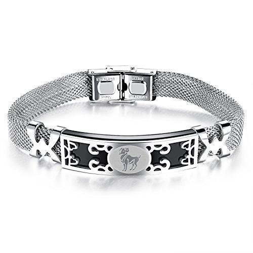 iSieraden roestvrij stalen armband armband armsieraad zilver zwart raam horoscoop dierenriem sterrenbeeld mesh-ketting heren