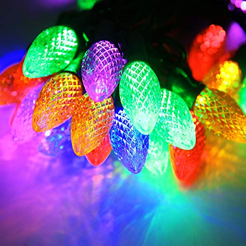 Outdoor C7 Led String Lights,Set of 50 Bulbs,Christmas Commercial Grade Multicolored Led icicle Lights,Wedding Party Garden Patio Festive Mood Xmas Lighting (C7, Multicolor-PP)