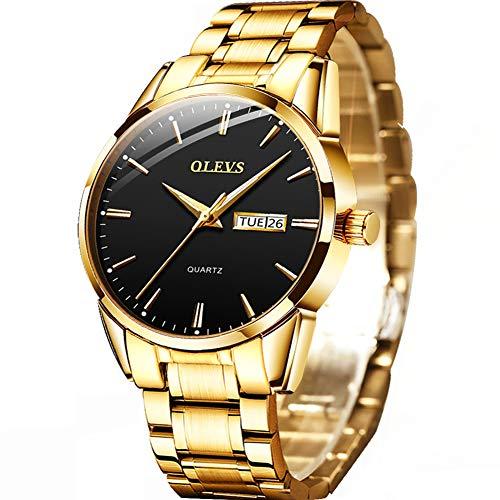 Gold Watches for Men,Stainless Steel Day Date Watch Luxury Dress Wristwatch Mens's Fashion Quartz Wrist Watch,OLEVS Watch Men Best Waterproof Classic Minimalist Watches Black Face,relojes de Hombre