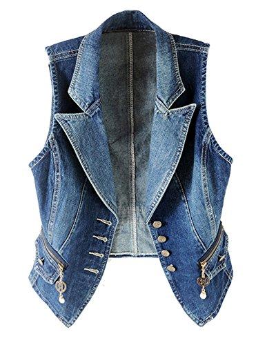 CYSTYLE 2018 Damen Loch BF Stil Blazer Weste Jacke Ärmellos Einfache Beiläufige Jeansweste (EU L=Asia 3XL)
