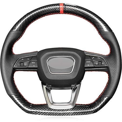 HCDSWSN Auto Lenkradhüllen,Für Audi Q5 SQ5 2017-2019 Q3 2018 2019 Q8 SQ8 2018 2019 Q7 SQ7 2014-2019 Karbonfaser Leder Red Marker Autolenkradabdeckung