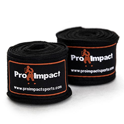 Pro Impact Mexican Style Boxing Handwraps 180' with Closure – Elastic Hand & Wrist Support for Muay Thai Kickboxing Training Gym Workout or MMA for Men & Women - 1 Pair (Black)