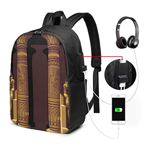 Laptop Rucksack Business Rucksack für 17 Zoll Laptop, Ägyptische Pharao Grab Pyramide Schulrucksack Mit USB Port für Arbeit Wandern Reisen Camping,für Herren Damen