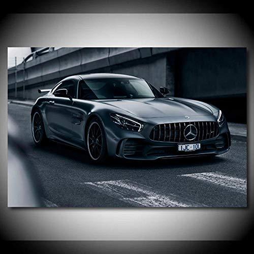 WSHIYI Wandkunst Leinwand Wohnkultur Gemälde HD-Druck Moderne Mercedes AMG GTR Schwarz Auto Poster Bilder Wohnzimmer / 50x75cm (19,7X 29,5 Zoll) Kein Rahmen
