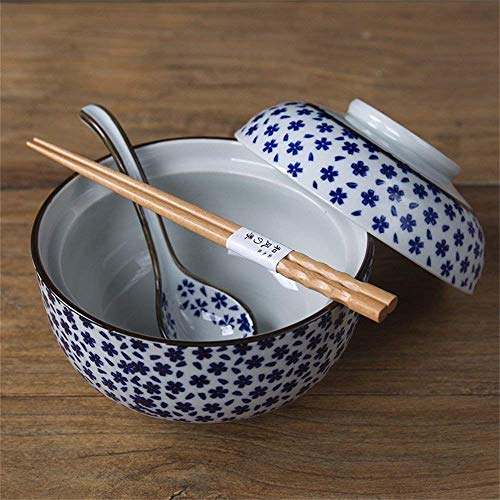 WCS Ceramic Soup Noodle Pasta Bowl with Lid Retro Fruit Salad Rice Steamed Egg Stewed Cubilose Cup Mixing Serving Bowl Tureen Oven Microwave Safe 6.5 Inches reward Chopsticks and spoon (Color:#4)