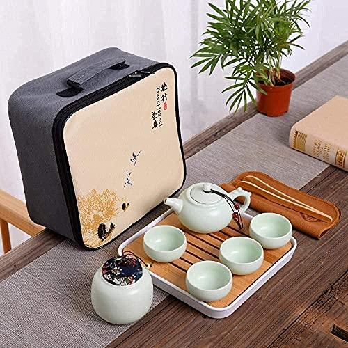 TIANYOU Sistema de Té de Cerámica Portátil Del Juego de Té de Kungfu 1 Pot 4 Copas 1 Del Carrito de Té Juego de Té con Bolsa de Almacenamiento Juego de té para uno/Dragon Pot Qi
