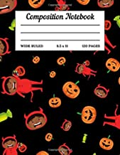 Composition Notebook: Halloween Themed Wide Ruled Lined Paper Book 120 Pages - Elementary Middle High School Kids Elderly Large Handwriting Standard Size - Boy Devil Candy