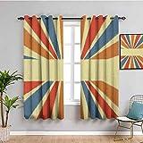 Wärmedämmungsvorhang, Vintage-Stil, Regenbogen, 160 cm Länge, handgezeichneter Stil, bunte Sonnenstrahlen mit Grungeeffekt, Retro-Design für Wohnzimmer oder Schlafzimmer, mehrfarbig, B 139 x L 160 cm