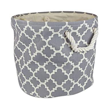 "DII Collapsible Polyester Storage Basket or Bin with Durable Cotton Handles, Home Organizer Solution for Office, Bedroom, Closet, Toys, Laundry (Large Round – 15x16""), Gray Lattice"