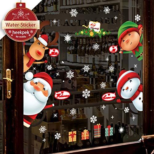 heekpek Weihnachtsmann an Weihnachten Fensterdeko Fensterbilder Winterlandschaft Weihnachtsmann Weihnachtselche Wandtattoo Weihnachten Deko Weiss Weihnachtssticker Frohe Weihnachten Weihnachtsmann