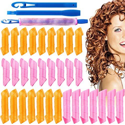 32 pièces Bigoudis Magiques Kit de Coiffage Curl, Kalolary pas de bigoudis de chaleur avec des crochets de coiffage Bigoudis pour les femmes filles cheveux courts/moyens/longs (7,9 et 11,8 pouces)