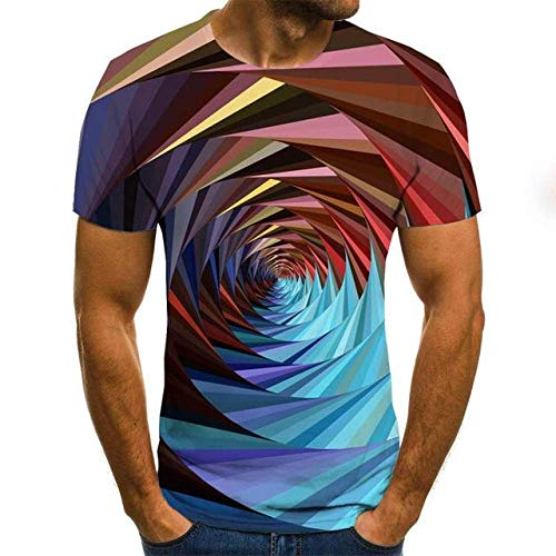 JKFDH 3D T-Shirt,Kreative Round Neck Short Sleeve Tops Neuheit Farbenfrohen Space Tunnel Print Optische Täuschung Lässige Atmungsaktive Streetwear Für Frauen Mann Indoor Outdoor Sport, M.