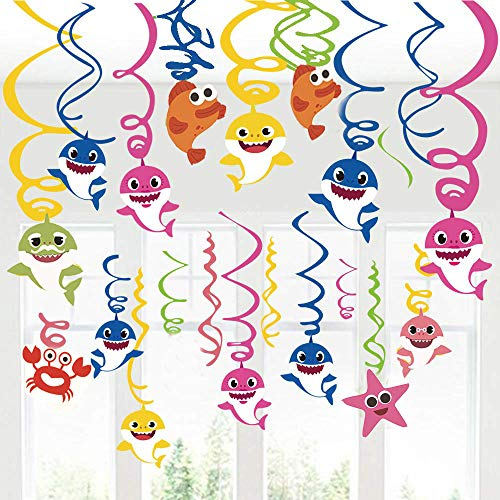 Haai opknoping Swirl Party Decoraties Draai Streamers Opknoping Swirl Plafond Decor Verjaardag Party Plafond Streamers Haai Familie Feestartikelen voor Baby Kinderen(30Ct)