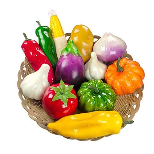 Lorigun 12 unids/Set Verduras Artificiales simulación de Verduras decoración Cocina decoración del hogar Conjunto de Accesorios para Fotos Cebolla Falsa maíz para decoración