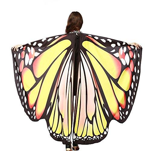 KPILP Damen Schmetterling Kostüm Karneval Faschingkostüme Schal Flügel Tuch Erwachsene Poncho Umhang für Party Halloween Weihnachten Cosplay (Gelb
