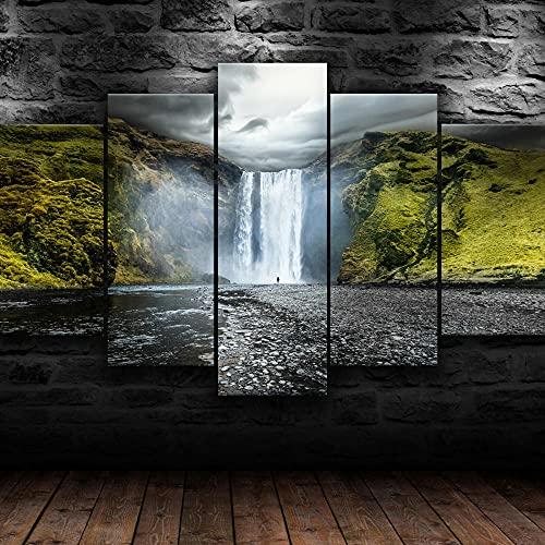Quadro Moderno Skogafoss Cascata Islanda. Stampa su Tela - Quadro x poltrone Salotto Cucina mobili Ufficio casa - Fotografica Formato XXL
