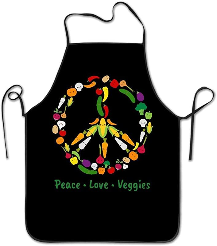 Amiuhoun Cute Kawaii Vegetable Veggie Peace Sign Unisex Kitchen Bib Apron Barbershop Chef With Adjustable Neck Chef S Apron