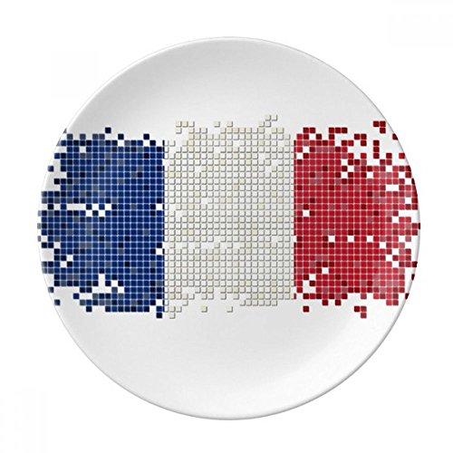 DIYthinker France Simple Grille Drapeau National décoratif en Porcelaine Assiette à Dessert 8 Pouces Dîner Accueil Cadeau 21cm diamètre Multicolor