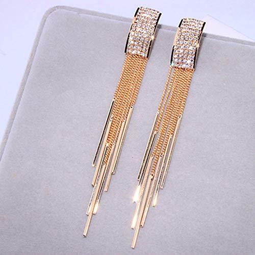 New Gold Color Long Crystal Nappa Clip On Orecchini Senza Piercing per Le Donne Regali Gioielli Moda Nuziale