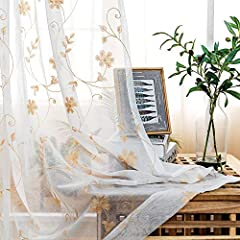 """☀HIGH-GRADE MATERIAL. Luxurious 100% polyester voile fabric. We are known for its durability & quality control. ☀SIZES TO FIT EVERY NEED. Embroidery Sheer Window Curtain Panels measure 52"""" wide and are available in lengths of 45"""",63"""", 84"""", 95"""". ☀THE ..."""