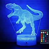 OurWarm 16 Colors 3D Dinosaur Night Light, Creative Birthday Gifts for Kids, 3D Illusion Lamp with Remote Control & Smart Touch, Dinosaur Toys Nightlight with Gift Wrap for Christmas Gifts for Kids