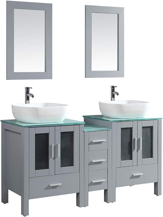 Buy Dodrehome 60 Modern Gray Bathroom Vanity Mdf Cabinet With Glass Top Ceramic Vessel Sink 812 Set And Mirror Included Online In Vietnam B08111k6j8