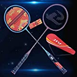 HAOSHUAI Badminton Set Racket, Sport Badminton Racket, 2 Raquettes de Badminton (Sacs y Compris Le Stockage), Convient for Les débutants et Loisirs Animations, activités familiales, etc