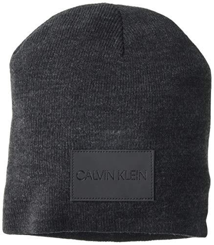 Calvin Klein Herren Beanie Strickmütze, Onyx Heather, Einheitsgröße