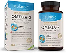 Eukonic Omega-3 Wild Caught Fish Oil 2400 mg, Triple Strength EPA 860 mg + DHA 630 mg, 180 Softgels, Lemon Flavored, Burpless, Enteric Coated