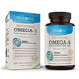 Eukonic Omega-3 Wild Caught Fish Oil 2400 mg, Triple Strength EPA 860 mg + DHA 630 mg, 180 Softgels, Lemon Flavored, Burpless, Enteric Coated