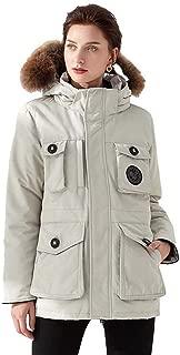 Women's Down Coat with Fur Hood Thicker Winter Slim Down Lammy Jacket Long Parka Puffer Jacket