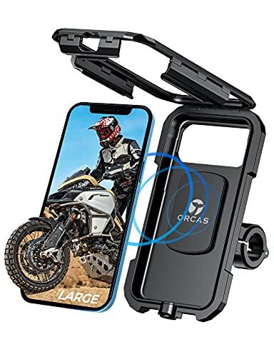ORCAS TECHNOLOGY Motorrad-Handyhalterung, wasserdicht, mit kabellosem Ladegerät – Typ-C USB-Ladegerät für Lenker und Spiegel, kompatibel mit bis zu 7 Zoll Handys mit Qi-Schnellladung