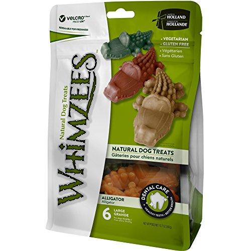 WHIMZEES Natürliche Getreidefreie Zahnpflegesnacks, Kaustangen für Hunde, Krokodil L, 6 Stück, 60 g