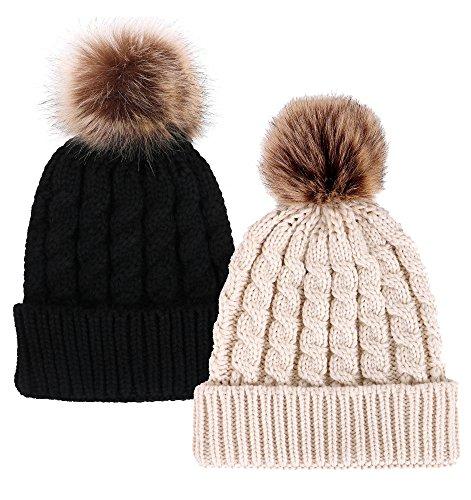 Simplicity Unisex Winter Hand Knit Faux Fur Pompoms Beanie 2 Pieces, Black/Cream