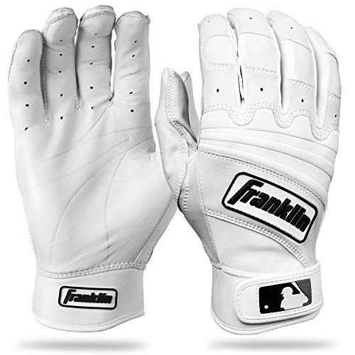 Franklin Sports Adult MLB The Natural II Batting Gloves (Pair), Pearl/White, Small