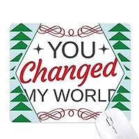 あなたは私の世界をバレンタインデーに変更 オフィスグリーン松のゴムマウスパッド