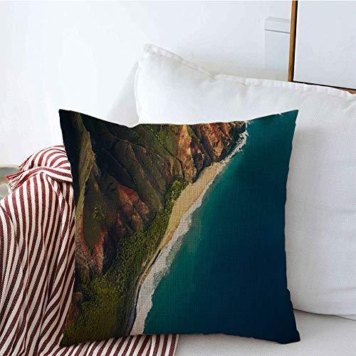Fundas de almohada decorativas Hermoso paisaje natural en la isla de Kauai Hawaii Parques compensados Cascada Cámara de exploración al aire libre Funda de Cojine 45 X 45CM