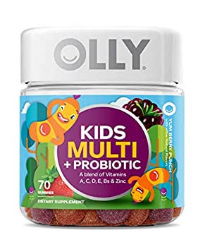 OLLY Kids Multi + Probiotic Gummy Multivitamin 35 Day Supply  70 Count  Yum Berry Punch Vitamins A C D E B Zinc Probiotics Chewable Supplement