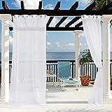 Clothink Outdoor Vorhänge mit Ösen 132x305cm Weiss - Winddicht Wasserdicht Vorhänge, Mehltau beständig, für Gartenlauben Balkon, Strandhaus Vorhalle, Pergola, Cabana