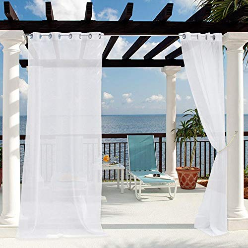 JHome Outdoor Sheer Curtain for Patio, Outdoor Indoor Waterproof Privacy White Sheer Curtains Grommet Top Voile Drapery for Porch Window with Bonus Rope Tieback (1 Panel, 100 by 96 Inch)