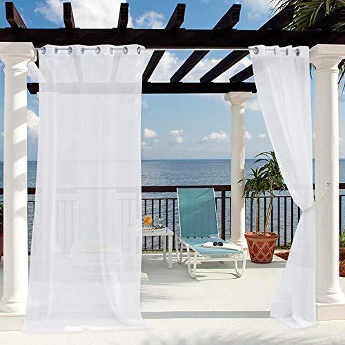 Clothink Outdoor Vorhänge mit Ösen 132x245cm Weiss - Winddicht Wasserdicht Vorhänge, Mehltau beständig, für Gartenlauben Balkon, Strandhaus Vorhalle, Pergola, Cabana