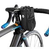 GORIX(ゴリックス)自転車用 バッグ ハンドルバッグ ステム フロント 自転車 ハンドルバッグ 小物入れ ポーチ (B16) (ブラック(搾りタイプ))