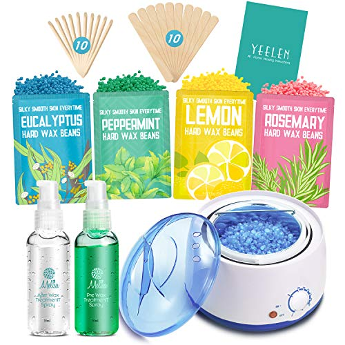 Waxing Kit Hair Removal Home Wax Warmer with 4 Bags Hard Wax Beans 20 Wax Sticks for Body Armpits Eyebrows Face Bikini
