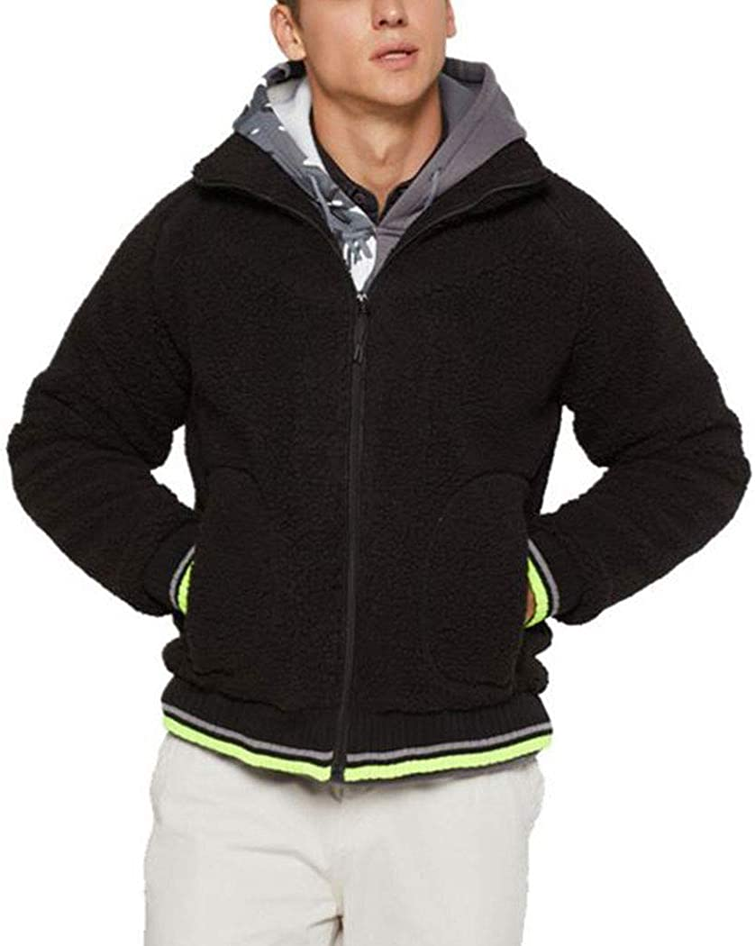 Men's Fluffy Sherpa Sweaters Autumn Winter Warm Fleece Zipper Cardigan Casual Coat
