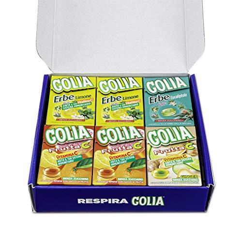 Golia Wellness Box, Confezione Speciale da 12 Astucci Misti di Caramelle Golia, Gusto Agrumi, Ginger-Lime, Erbe Limone, Erbe Eucalipto, Senza Zucchero e Senza Glutine