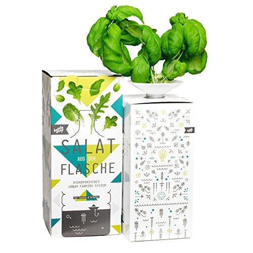 Bottlecrop – salade uit de fles | grote bladeren basilicum | in fles | trekkingsgeschenk | teeltsysteem | Urban Farming | cadeau-idee | hydrocultuur | planten zonder aarde | kruiden vensterbank | kruidentuin raam | verticale tuin | duurzaam |