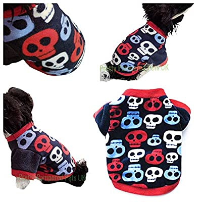 "Pretty Pampered Pets XXXS XXS XS Small Tiny New Teacup Chihuahua Clothes Clothing Puppy Dog Toy Breeds Hoodie Black Red Skulls Cosy Coat (XS- 8.5"" suit XXS puppies ONLY, Red/Blue/Navy)"