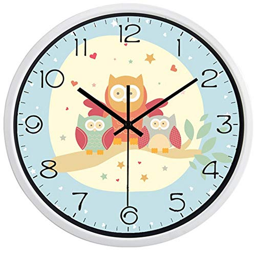 guyuell Cartoon Owl Family Horloge Murale Fashion Silent Children Room Wall Decor Seat Décoration De La Maison, Un