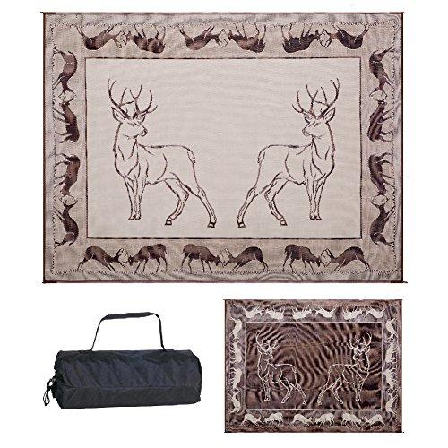 Stylish Camping PA1 Black/ Brown/ Beige 9-Feet x 12-Feet Deer Mat