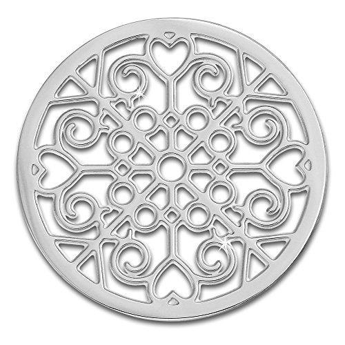 Amello Coins Edelstahl-Schmuck, Coin silber Muster - Coin für Amello Coinsfassung für Damen - - 30 mm, Größe M Edelstahlschmuck Stainless Steel ESC523J
